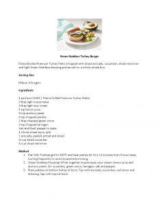 Green Goddess Turkey Burger